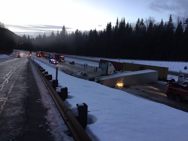 I-90 morning truck accident from exit